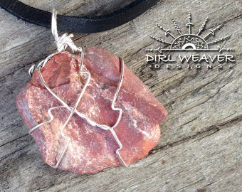 Rose Stone with Silver Wire Wrap.