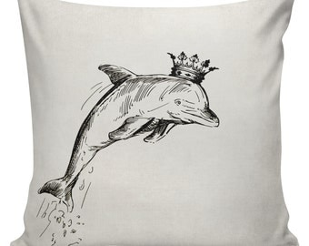 Beach Pillow Cover Cotton Canvas Throw Pillow 18 inch square Dolphin with Crown UE-271 Urban Elliott