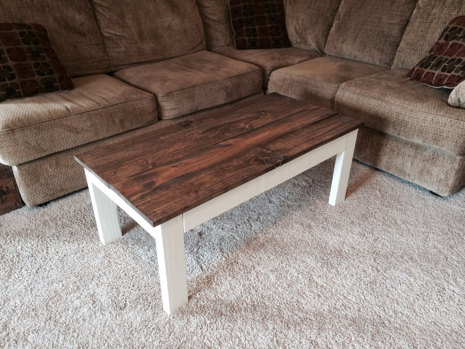 Distressed Rustic Coffee Table Antique White Base And