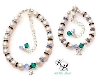 bracelet set mother daughter jewelry set birthstone bracelets bridal shower gift