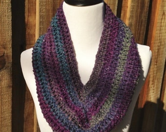 Purple/Blue/Grey Multi Cowl; Circle Scarf; Winter Circle Scarf; Winter Infinity Scarf; Winter Cowl; Womens Cowl