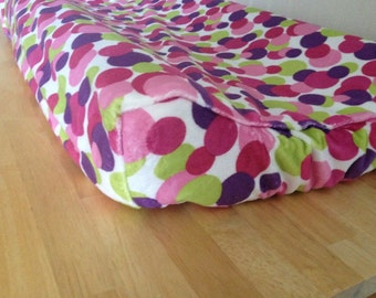 READY TO SHIP Minky Changing Pad Cover (Purple Pink Magenta Lime Green White) (Polka Dot Baby Girl) (Angular Edge Contoured Changing Pad)