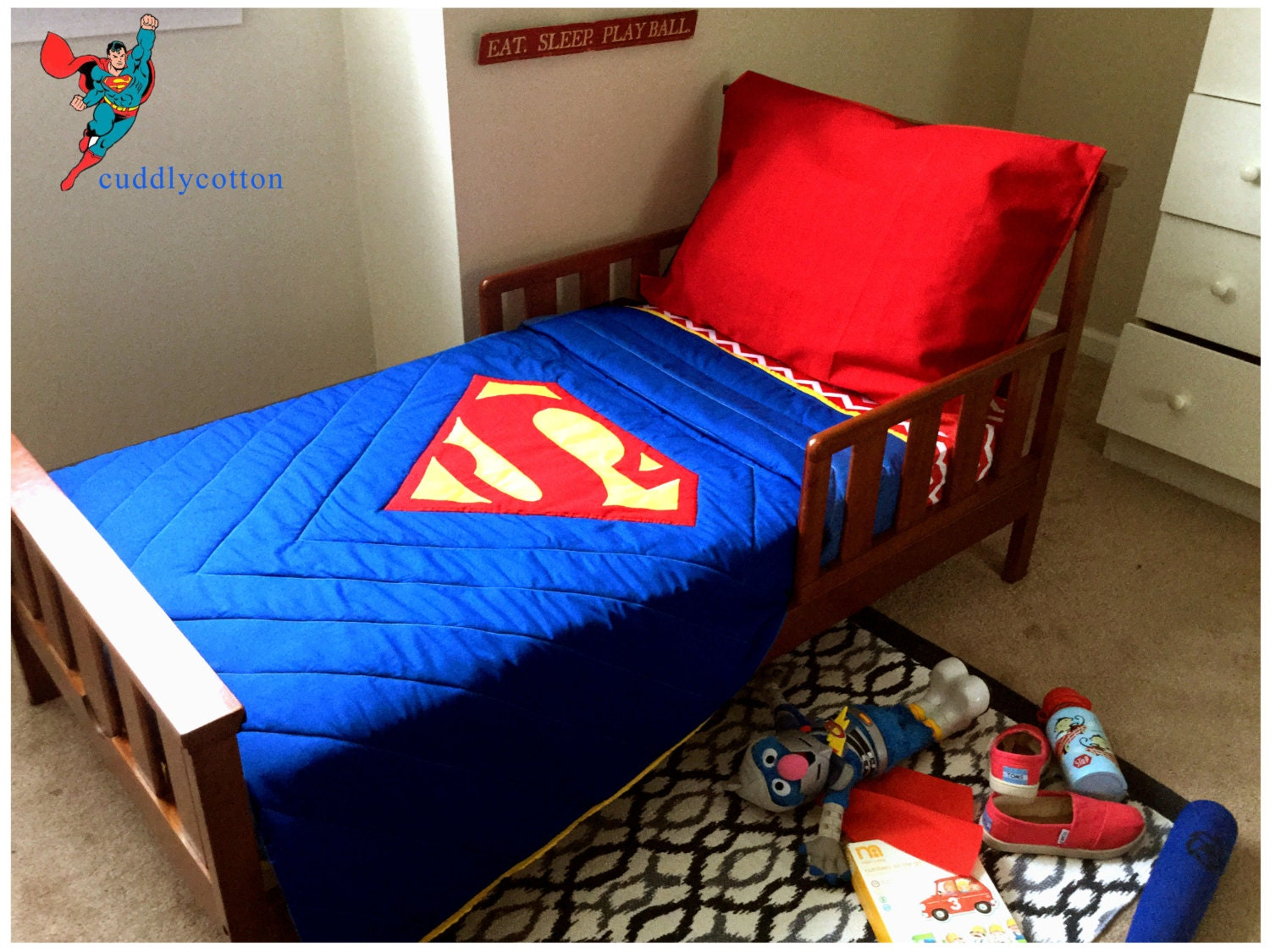 Superman Toddler Bedding 100% Cotton by cuddlycotton on Etsy