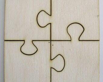 4 Piece Puzzle Unfinished Laser Cut Wood Shape Four Pieces  DIY