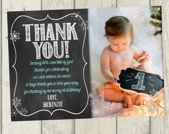 Winter ONEderland Thank You Card, First Birthday Thank You, Chalkboard Thank You, Snowflake Thank You Card, Winter Birthday Thank You