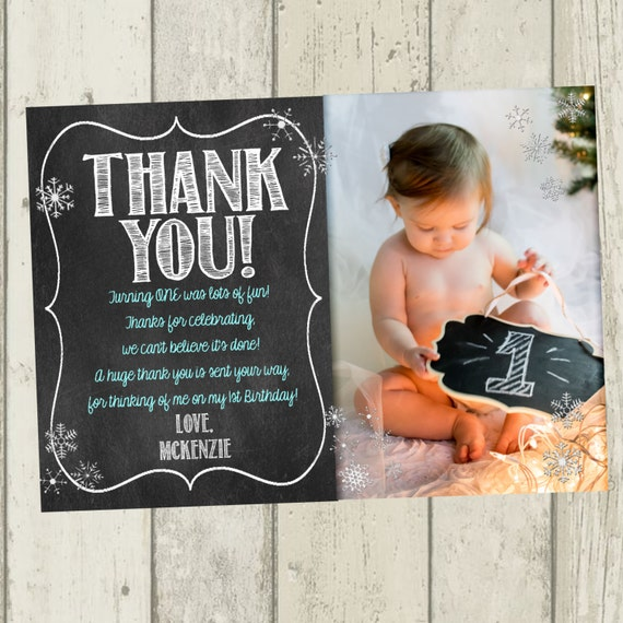 Winter ONEderland Thank You Card First Birthday Thank You