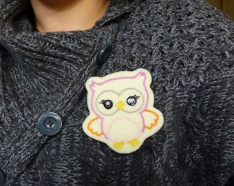 Sally the owl brooche, felt owl, hand embroidered, ready to ship, free shipping