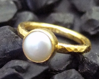 Handmade Hammered Band Fresh Water Pearl Stack Ring 22K Gold Over 925K Sterling Silver