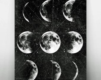 Moon Poster,Full Moon,Moon Art With Moon Phases,Astronomy Art.NO,278