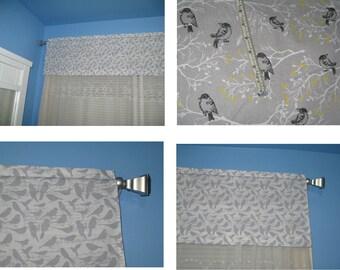Handmade 100% Cotton Gray and Black Birds Window Curtain Valance