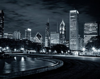 Chicago skyline fine art photography - Chicago downtown,  Chicago Night photo print. Black and white Chicago. City photography print