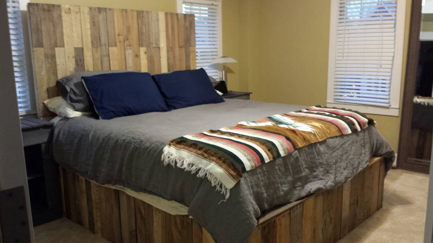 Pallet bed frame and headboard by MuffledShop on Etsy
