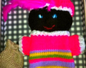 Dutch black peter hand puppet, black peaterman, dutch puppet, december decoration, sint and piet, the netherlands tradition,