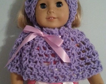 "American Girl or 18"" doll beautiful handmade poncho and headband"