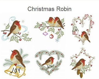 Christmas Robin Machine Embroidery Designs Instant Download 4x4 5x5 6x6 hoop 10 designs APE2083