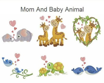 Mom And Baby Animal Machine Embroidery Designs Instant Download 4x4 hoop 10 designs SHE5039