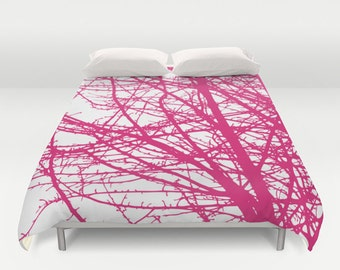Pink Tree Branches Modern Duvet Cover - Queen Size Duvet Cover - King Size Duvet Cover
