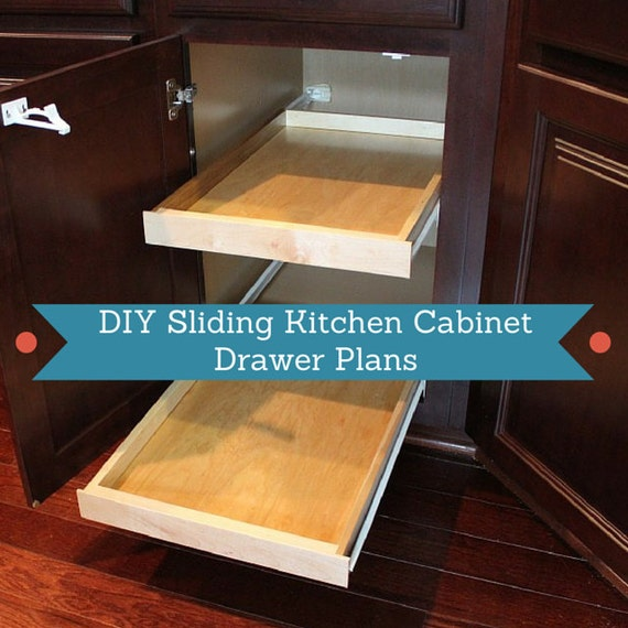 Items similar to diy sliding kitchen cabinet drawer plans for Sliding drawers for kitchen cabinets