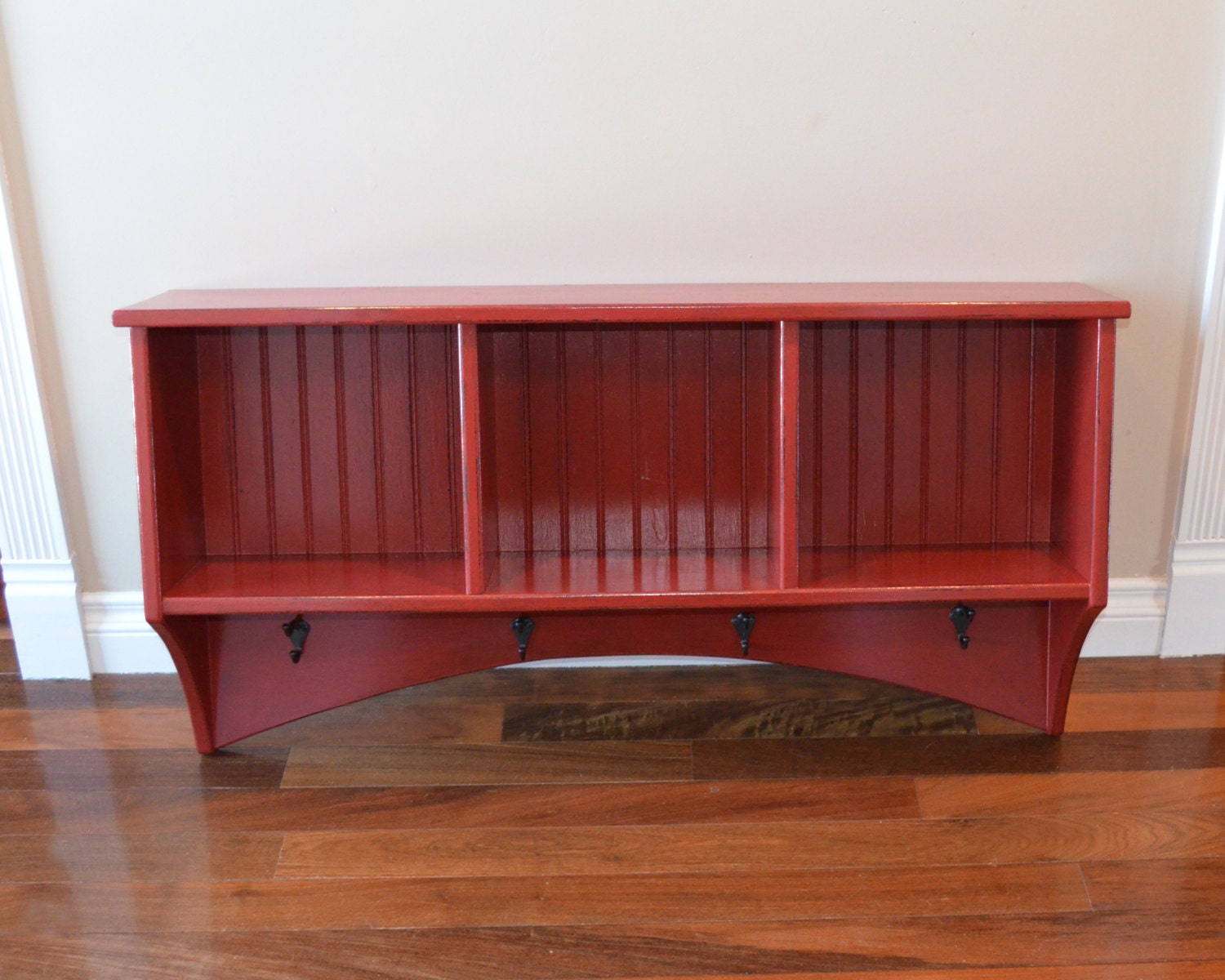 Foyer Cubby Storage : Entryway cubby storage shelf with coat hooks custom colors