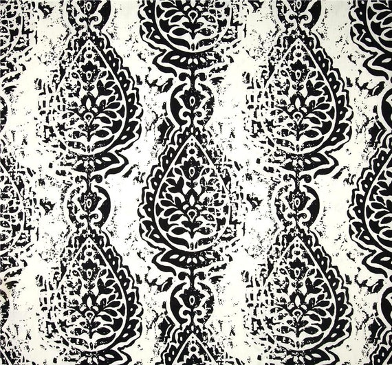 Designer Ikat Black White Home Decor Fabric by by