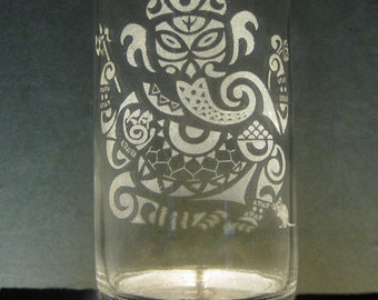 Ganesh-- Etched Glass Water Bottle