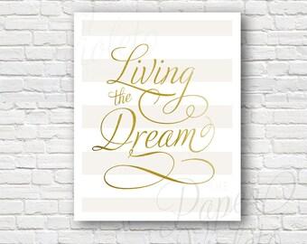 Living the Dream Printable Wall Decor | Digital File