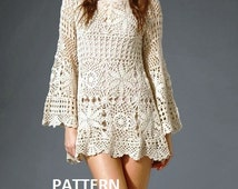 Pattern tunic long sleeve dress summer sexy lace shirt spring top crochet pdf wedding