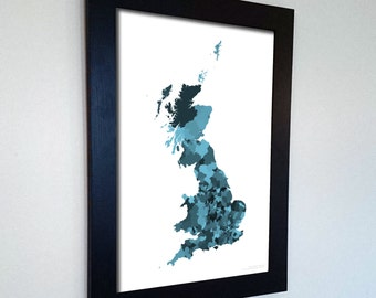 Great Britain Map Print Abstract in Army Camouflage Marine - A great talking piece for the home! England, Wales and Scotland