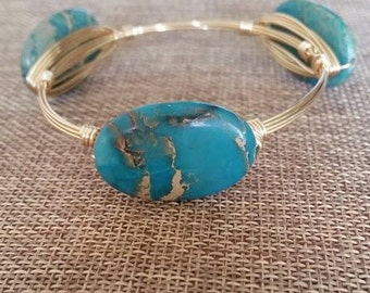Sand & Waves -- Turquoise/Neutral Oval Stone Bangle