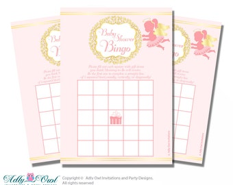 Gold Angel Bingo Game Printable Card for Baby Little Shower DIY grey, Gold Pink-oz51bs3