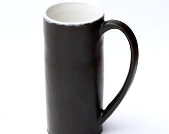 large 14-ounce handmade ceramic coffee / tea mug ~ satiny matte grey charcoal glaze ~ wheel thrown stoneware clay
