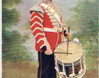 Old British Postcard - Tucks Military Series of 1903 - The Grenadier Guards. Side Drummer in Review Order