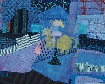 "Quilt Art  wall. Fiber art wall hanging . Mixed media. Textile collage    Little Girl Who Loved Horses  8""x10"""