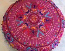 "24"" Round Floor Pillow Cushion with Embroidery (Hot Pink)"