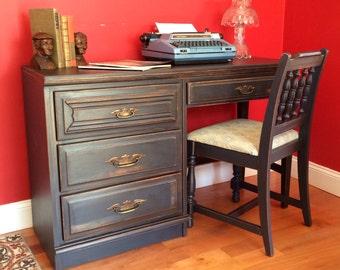 Vintage Charcoal Wood Desk -SOLD!!!