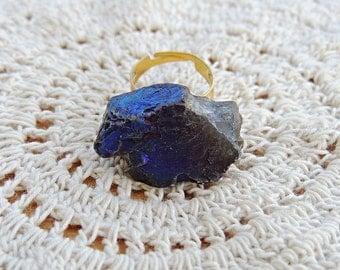 Purple Iridescent Stone Ring