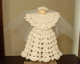 Crochet Bride Clothespin Doll - Ivory/Off-white Color - Wedding, First Communion