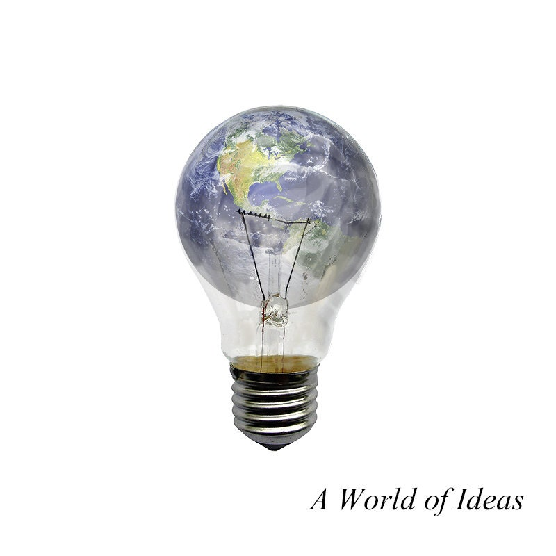 Light bulb art lightbulb world globe print Inspirational