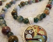 Retro Owls in Love Agate and Jasper Beaded Necklace