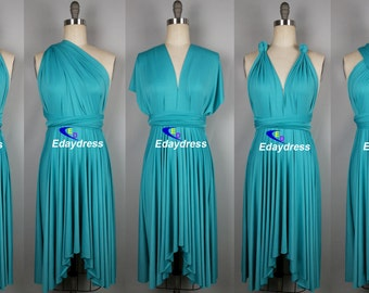 Dress tiffany blue knee length wrap convertible dress wedding dress