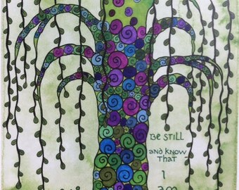 "Print of an original watercolor painting - ""Green Willow Tree"" 11"" x 15"""