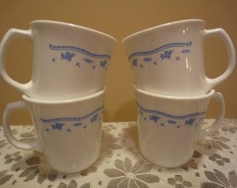 Corning Mugs/Country Blue Pattern/Set of Four