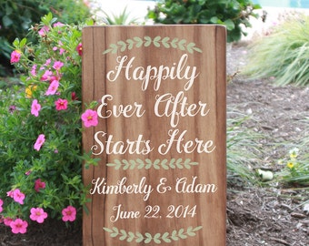 Happily Ever After Custom Wedding Date Sign / Handpainted Wood Wedding Sign