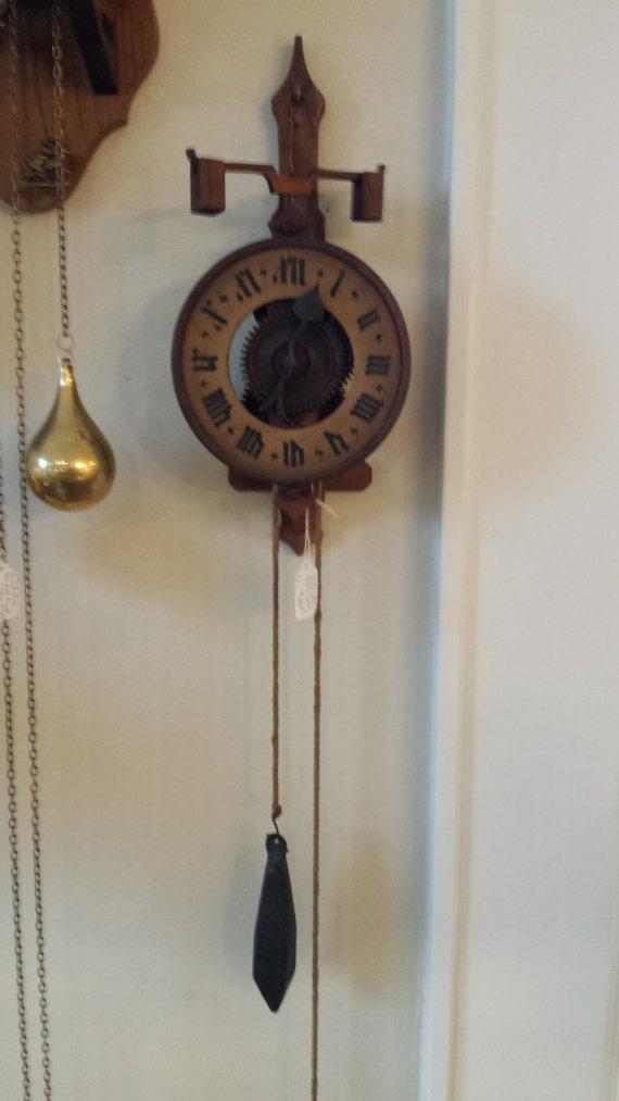 Vintage 1970 Wood Carved Bott Clock Made In Switzerland