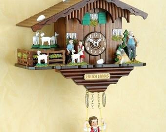 Original Schwarzwald- Heidihaus - Pendel- Kuckucksuhr mit Nachtabschaltung, Kuckucksruf - Cuckoo Clock- handmade Germany Black Forest