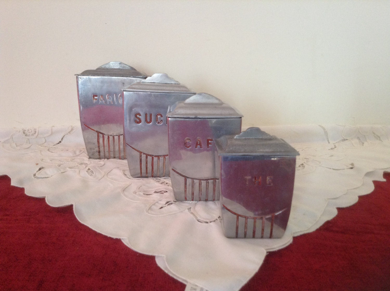 Beautiful set of 4 aluminium kitchen by scottsfrenchtreasure for Kitchen set aluminium