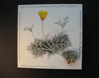 California Poppy drawing with pin/pendant