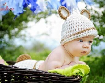 Teddy bear baby hat, baby bear hat, newborn bear hat, baby boy hat, cream bear hat, cream baby boy hat, animal baby hat, bear baby shower