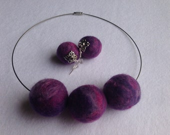 Unique needle felted handmade SET:Earrings and Necklace.