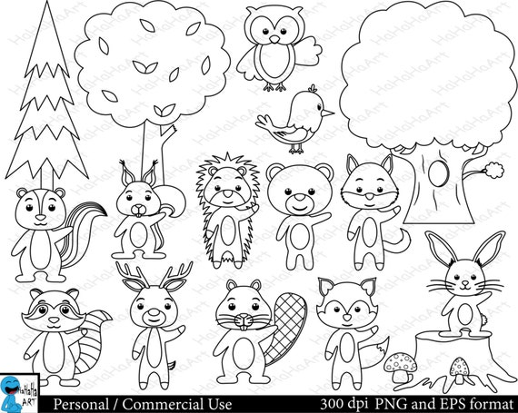 black and white forest animals coloring pages | Outline forest animals Set Clipart Digital Clip Art
